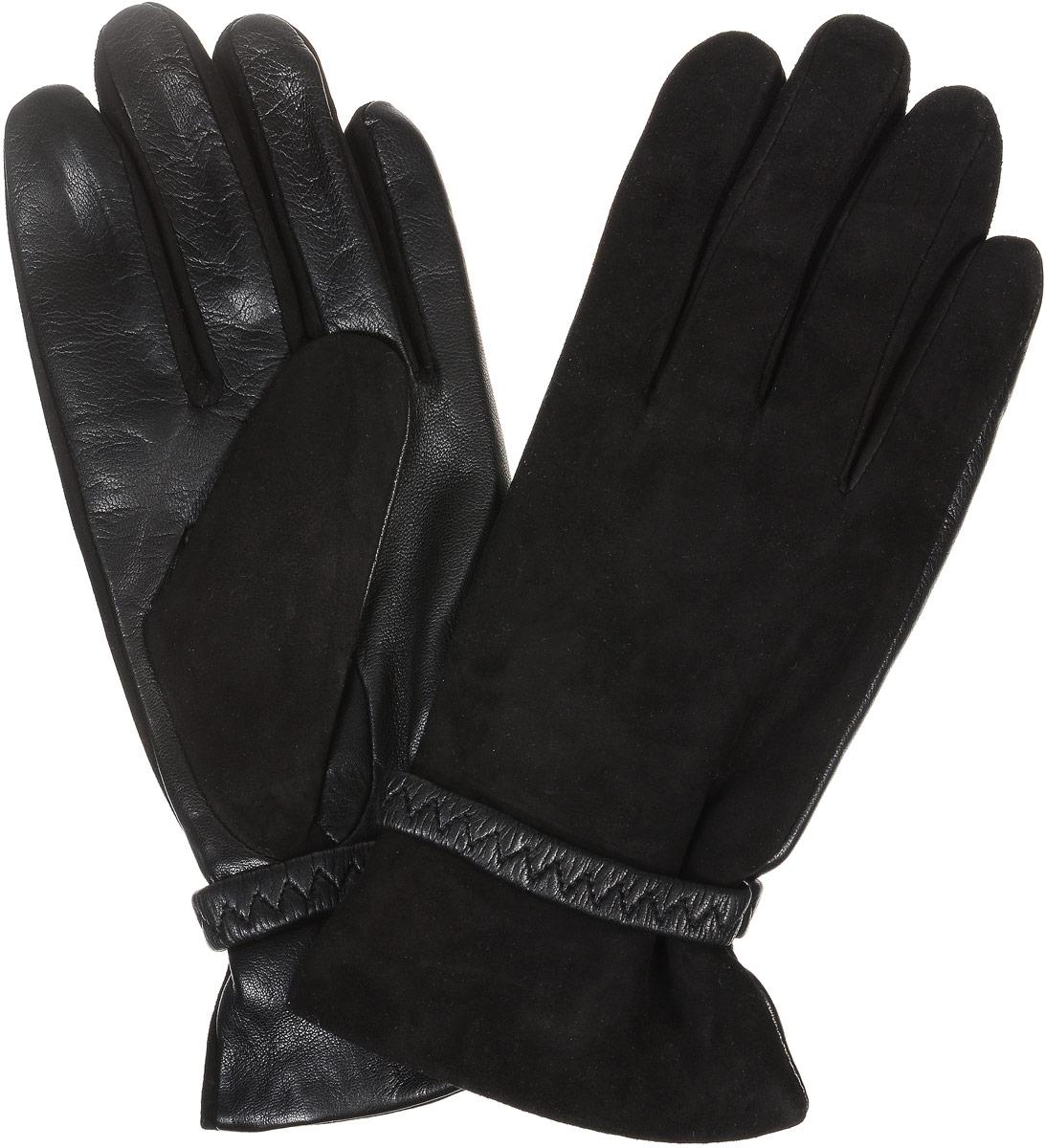 2104516667Стильные женские перчатки Piero станут великолепным дополнением вашего образа и защитят ваши руки от холода и ветра во время прогулок. Перчатки выполнены из комбинированной натуральной кожи и замши, а подкладка изготовлена из теплой шести с добавлением акрила. Модель выполнена в лаконичном однотонном стиле и оформлена вокруг запястья кожаным хлястиком.
