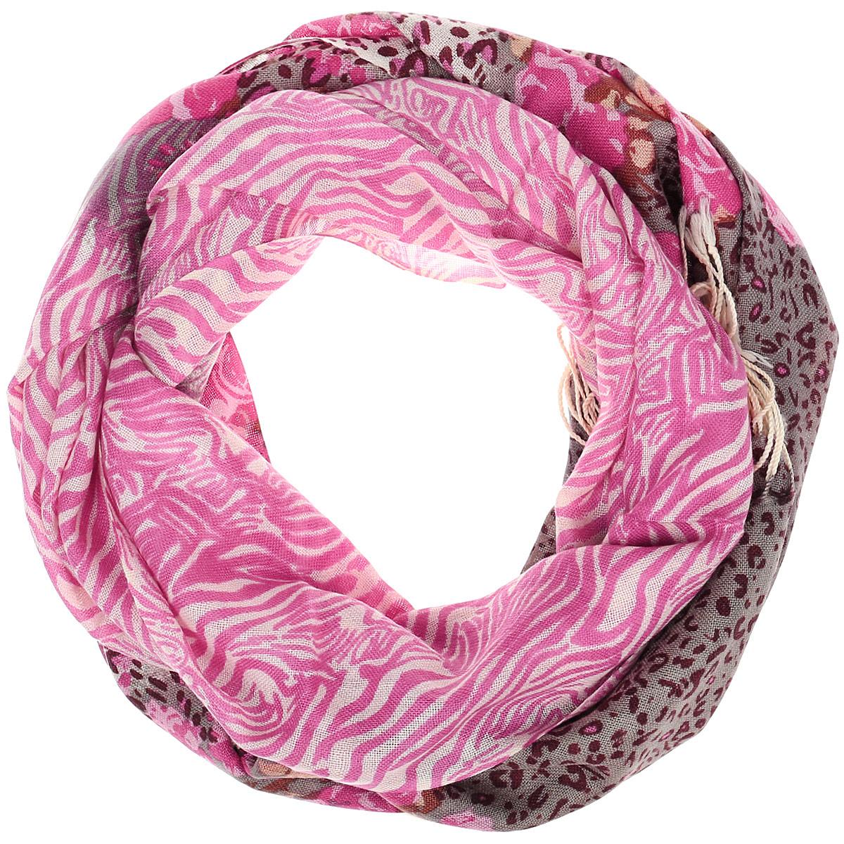 102Ш1_70х180_104Палантин Sabellino выполнен из мягкой 100% шерсти, оформлен узорным принтом. Края изделия декорированы тонкими кисточками, скрученными в жгутики.