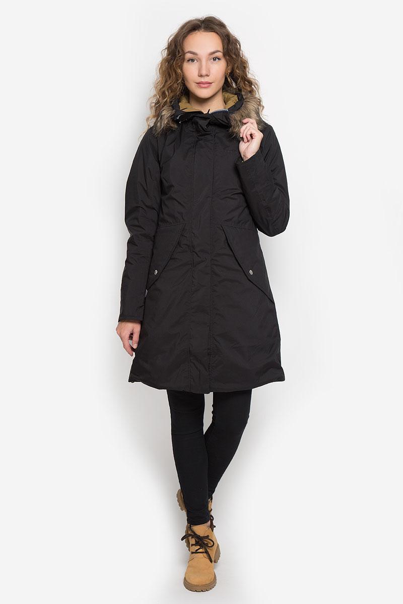Парка501230_039Женское пальто Didriksons1913 Vibrant с длинными рукавами и несъемным капюшоном выполнено из непромокаемой и непродуваемой мембранной ткани. Наполнитель - синтепон. Капюшон украшен съемным мехом на кнопках и дополнен втачным шнурком-кулиской со стопперами. Пальто застегивается на застежку-молнию спереди, оснащено ветрозащитным клапаном на кнопках. Изделие дополнено двумя втачными карманами с клапанами на кнопках спереди, втачным карманом на застежке-молнии с отверстием для наушников под ветрозащитным клапаном, а также внутренним накладным карманом и накладным карманом-сеткой. Рукава дополнены внутренними трикотажными манжетами. Объем низа и талии изделия регулируется при помощи шнурков-кулисок со стопперами.
