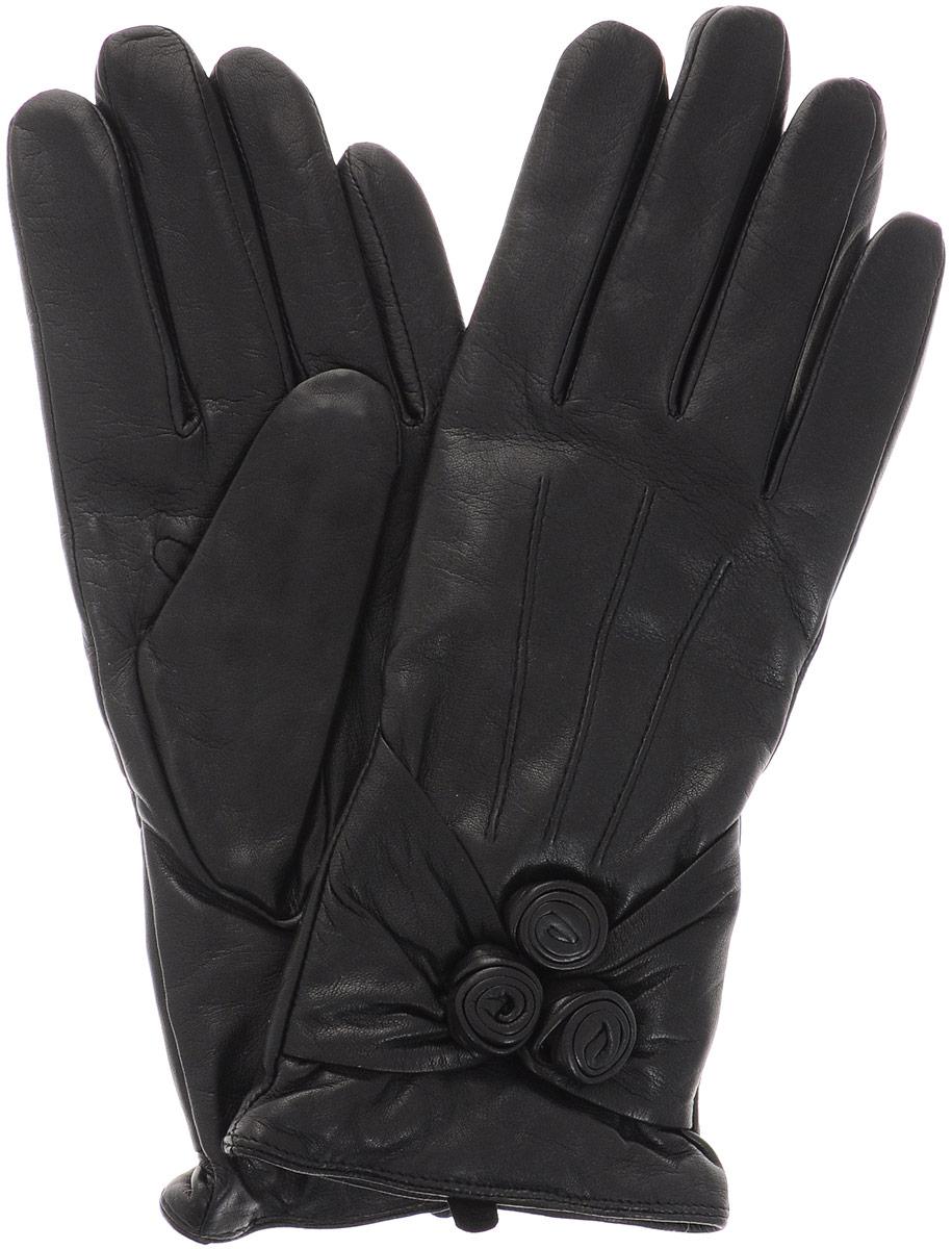 02104715377_01Стильные женские перчатки Piero станут великолепным дополнением вашего образа и защитят ваши руки от холода и ветра во время прогулок. Перчатки выполнены из натуральной кожи, а подкладка изготовлена из теплой шерсти с добавлением кашемира. Модель выполнена в лаконичном однотонном стиле и оформлена на лицевой стороне отстрочкой с декоративными цветочными бутонами. Такие перчатки будут оригинальным завершающим штрихом в создании современного модного образа.