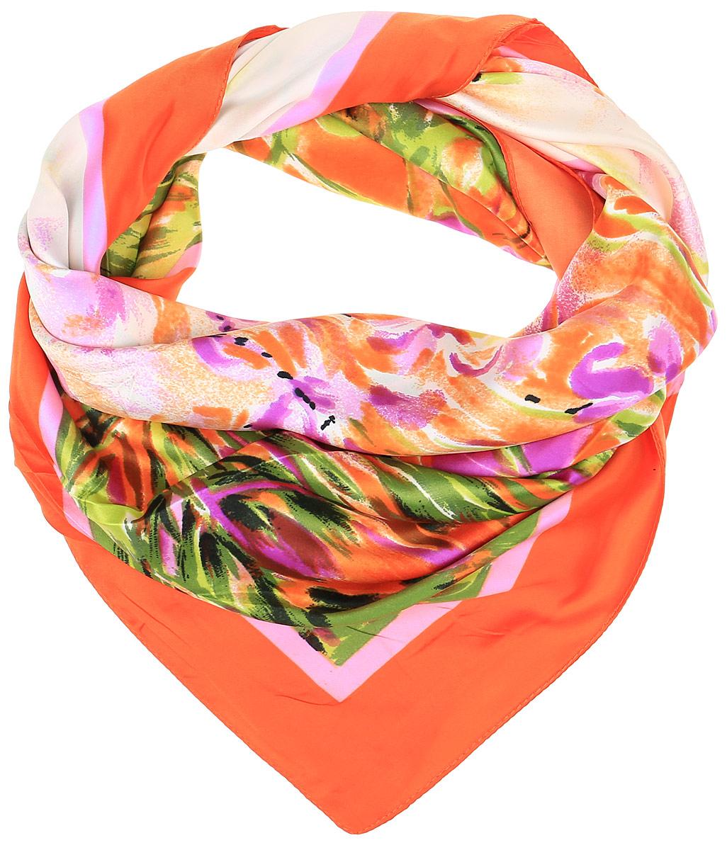 68ПЛ_90х90_15056_С_22Очаровательный женский платок Sabellino станет великолепным завершением любого наряда. Платок изготовлен из высококачественного полиэстера с добавлением шелка и оформлен контрастным цветочным принтом. Классическая квадратная форма позволяет носить платок на шее, украшать им прическу или декорировать сумочку.