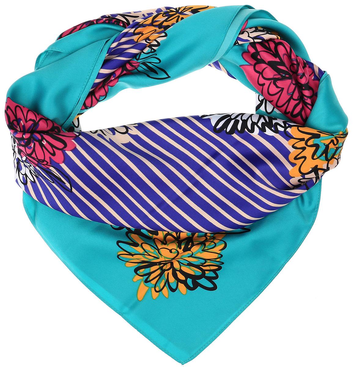 70ПЛ_90х90_15076__ПолоскаОчаровательный женский платок Sabellino станет великолепным завершением любого наряда. Платок изготовлен из высококачественного полиэстера с добавлением шелка и оформлен контрастным цветочным принтом и полосками. Классическая квадратная форма позволяет носить платок на шее, украшать им прическу или декорировать сумочку.