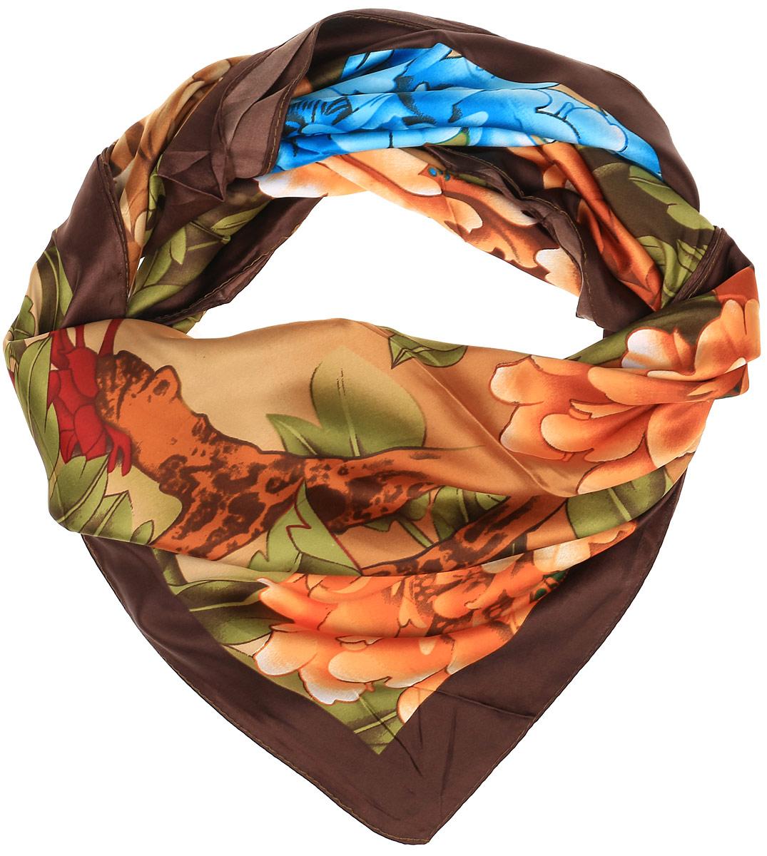 0510115238_02Очаровательный женский платок Sabellino станет великолепным завершением любого наряда. Платок изготовлен из высококачественного полиэстера и оформлен оригинальным цветочным принтом. Классическая квадратная форма позволяет носить платок на шее, украшать им прическу или декорировать сумочку.