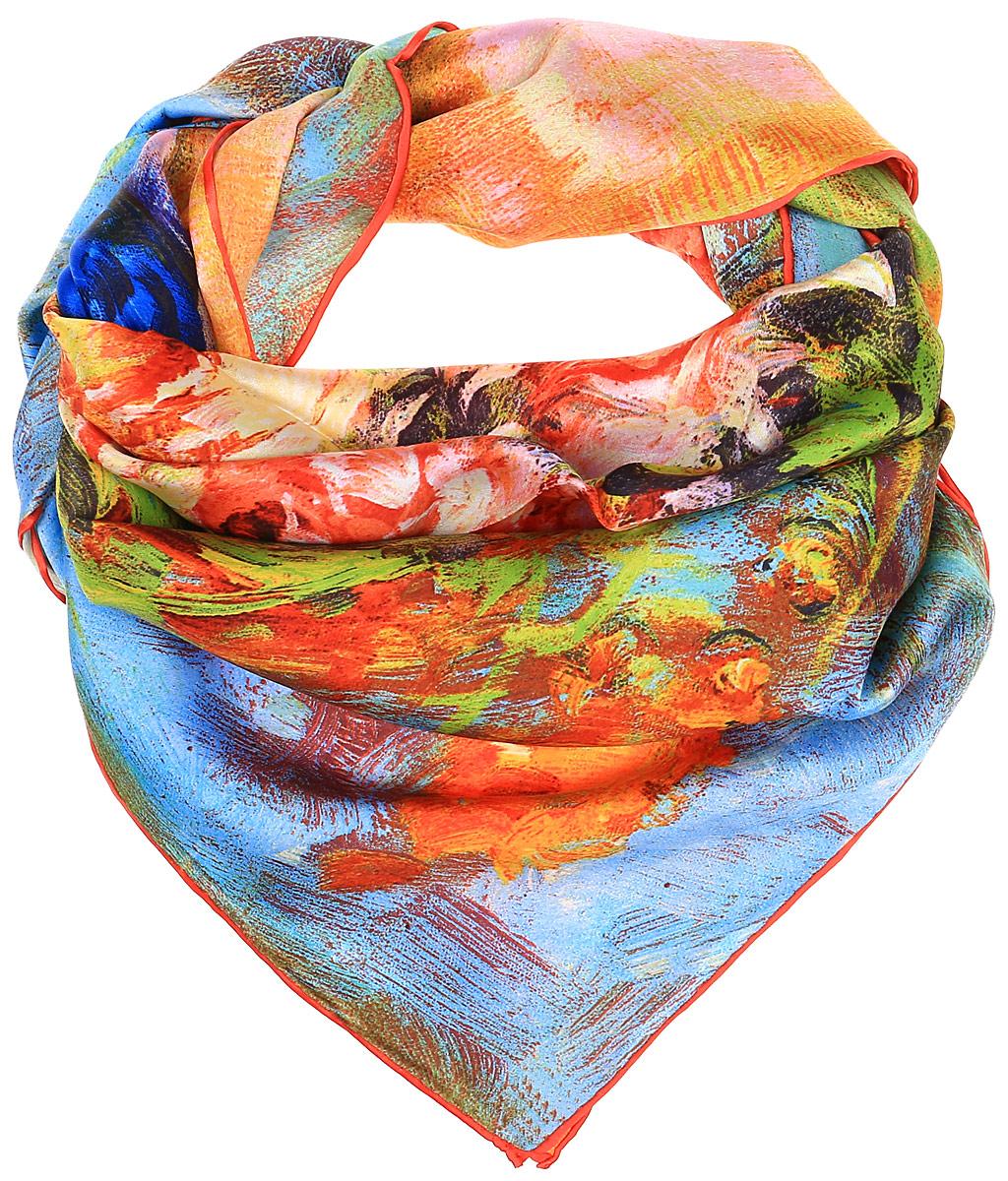 0510815310_23Очаровательный женский платок Piero станет великолепным завершением любого наряда. Платок изготовлен из высококачественного шелка и оформлен контрастным цветочным принтом. Классическая квадратная форма позволяет носить платок на шее, украшать им прическу или декорировать сумочку.
