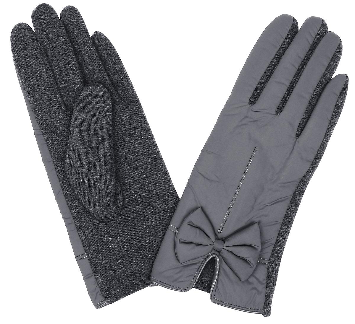 W16-11305_202Стильные женские перчатки Finn Flare изготовленные из высококачественных материалов на подкладке из полиэстера, станут идеальным вариантом для прохладной погоды. Они хорошо сохраняют тепло, мягкие, идеально сидят на руке и отлично тянутся. Перчатки оформлены отстрочками и небольшими декоративными бантиками.