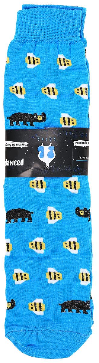 Носкиs2231Яркие мужские носки Big Bang Socks Медведь и пчела изготовлены из высококачественного хлопка с добавлением полиамидных и эластановых волокон, которые обеспечивают великолепную посадку. Носки отличаются ярким стильным дизайном. Удобная резинка идеально облегает ногу и не пережимает сосуды.