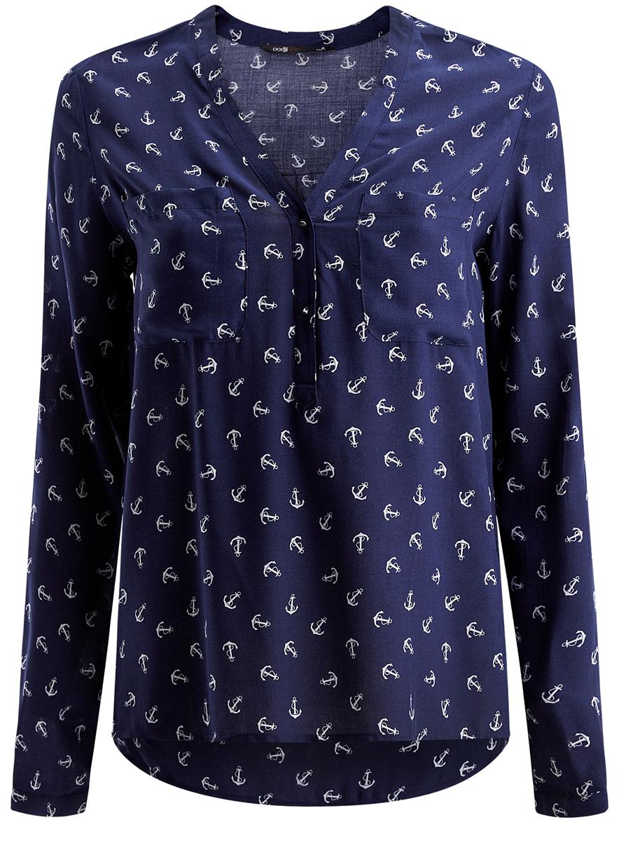 Блузка11411049/24681/7910OЖенская блуза oodji Ultra с длинными рукавами и V-образным вырезом горловины выполнена из натуральной вискозы. Блузка имеет свободный крой, манжеты рукавов застегиваются на пуговицы. На груди располагаются два накладных кармана. Модель украшена принтом с изображением якорей и дополнена декоративными пуговицами.