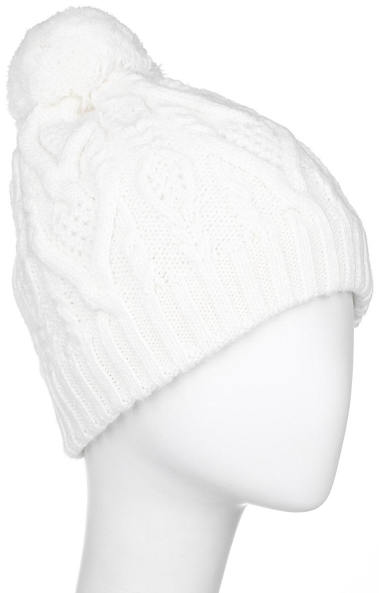ШапкаW16-11120_204Стильная женская шапка Finn Flare дополнит ваш наряд и не позволит вам замерзнуть в холодное время года. Шапка выполнена из высококачественной пряжи, что позволяет ей великолепно сохранять тепло и обеспечивает высокую эластичность и удобство посадки. Модель оформлена брендовой металлической пластиной и дополнена пушистым помпоном.