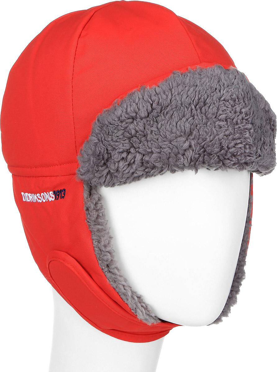501097_042Комфортная зимняя детская шапка-ушанка Didriksons1913 Biggles идеально подойдет для прогулок в холодное время года и защитит ушки, лоб и щечки ребенка от ветра. Шапка, выполненная из непромокаемой и непродуваемой мембранной ткани, прекрасно сохраняет тепло. Мягкая подкладка обладает отличной гигроскопичностью (не впитывает влагу, но проводит ее). На ушках имеется хлястик на липучке, позволяющий зафиксировать шапку под подбородком. Сзади объем шапки регулируется с помощью эластичной резинки. На затылке изделие дополнено светоотражающим элементом. Козырек фиксируется на кнопки.