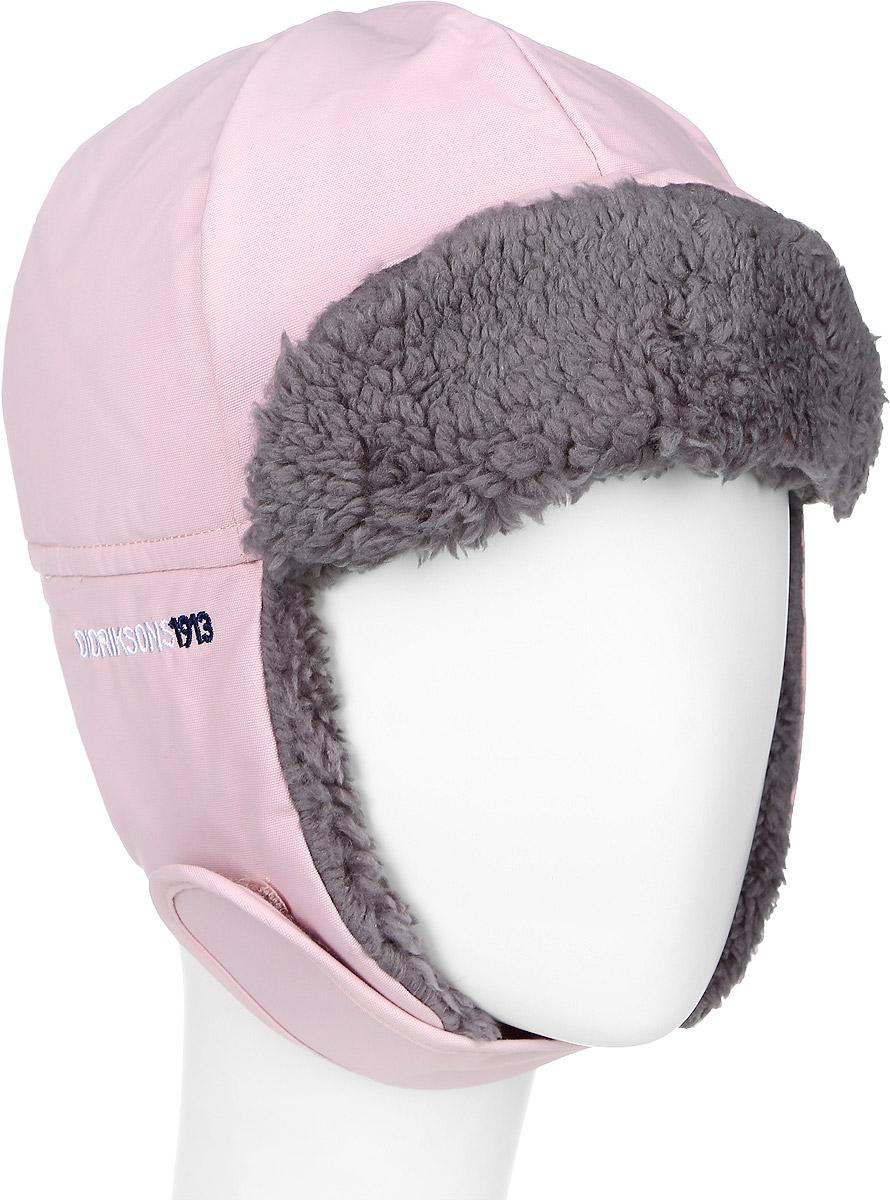 Шапка детская501097_042Комфортная зимняя детская шапка-ушанка Didriksons1913 Biggles идеально подойдет для прогулок в холодное время года и защитит ушки, лоб и щечки ребенка от ветра. Шапка, выполненная из непромокаемой и непродуваемой мембранной ткани, прекрасно сохраняет тепло. Мягкая подкладка обладает отличной гигроскопичностью (не впитывает влагу, но проводит ее). На ушках имеется хлястик на липучке, позволяющий зафиксировать шапку под подбородком. Сзади объем шапки регулируется с помощью эластичной резинки. На затылке изделие дополнено светоотражающим элементом. Козырек фиксируется на кнопки.