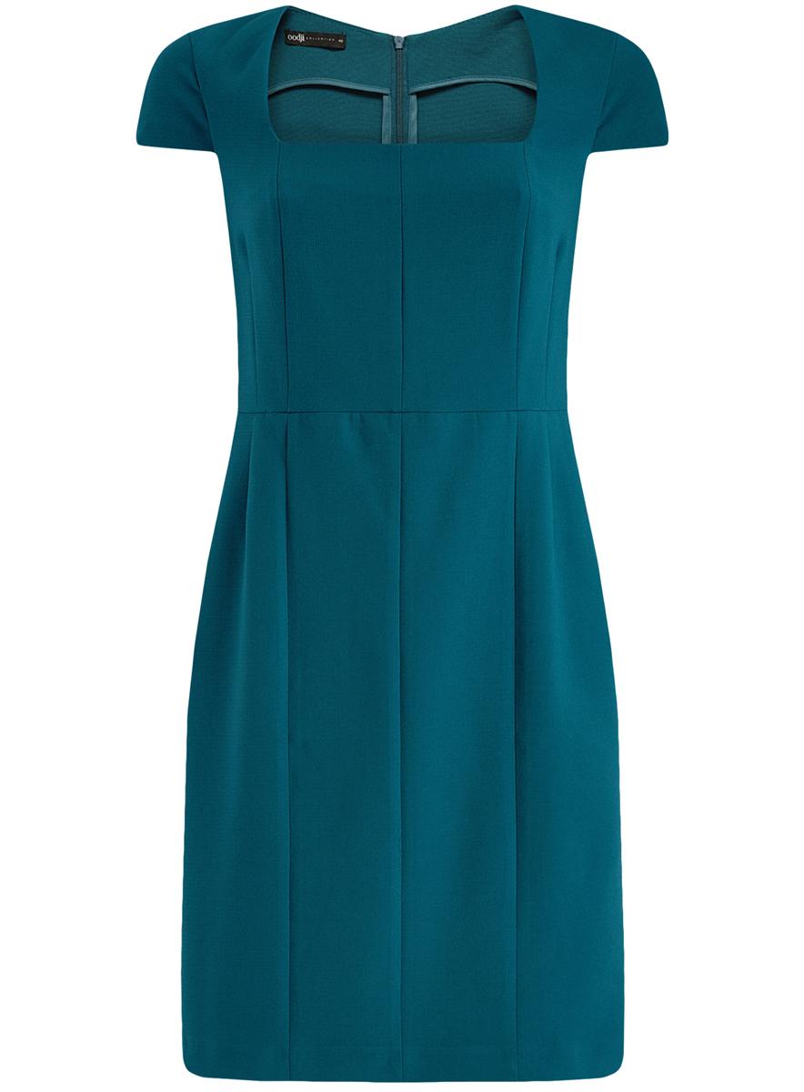 21902065/31291/7400NЖенское приталенное платье oodji имеет квадратный вырез воротника, рукава-крылышки и шлицу сзади. Застегивается на молнию на спинке. Выполнено из плотной ткани.