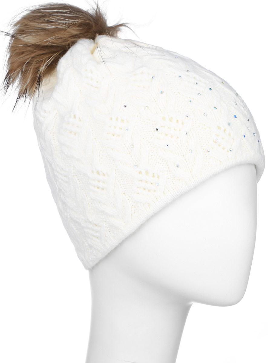 ШапкаW16-11119_201Стильная женская шапка Finn Flare дополнит ваш наряд и не позволит вам замерзнуть в холодное время года. Шапка выполнена из высококачественной пряжи, что позволяет ей великолепно сохранять тепло и обеспечивает высокую эластичность и удобство посадки. Модель оформлена брендовой металлической пластиной, стразами и дополнена помпоном из натурального меха.