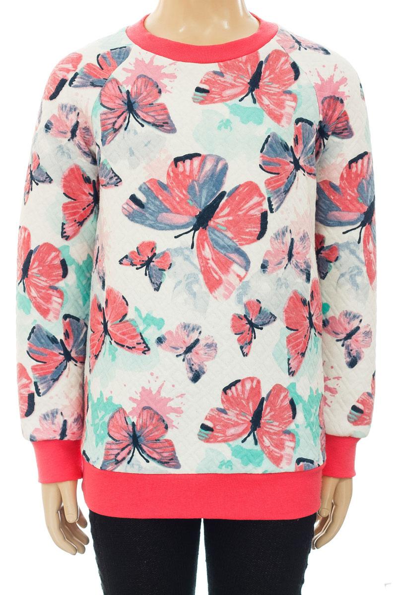 СвитшотWJK26032M-22Стильный свитшот M&D для девочки выполнен из хлопка и полиэстера. Модель с круглым вырезом горловины и длинными рукавами-реглан оформлена принтом с бабочками. Манжеты рукавов, низ изделия и горловина дополнены трикотажными резинками.