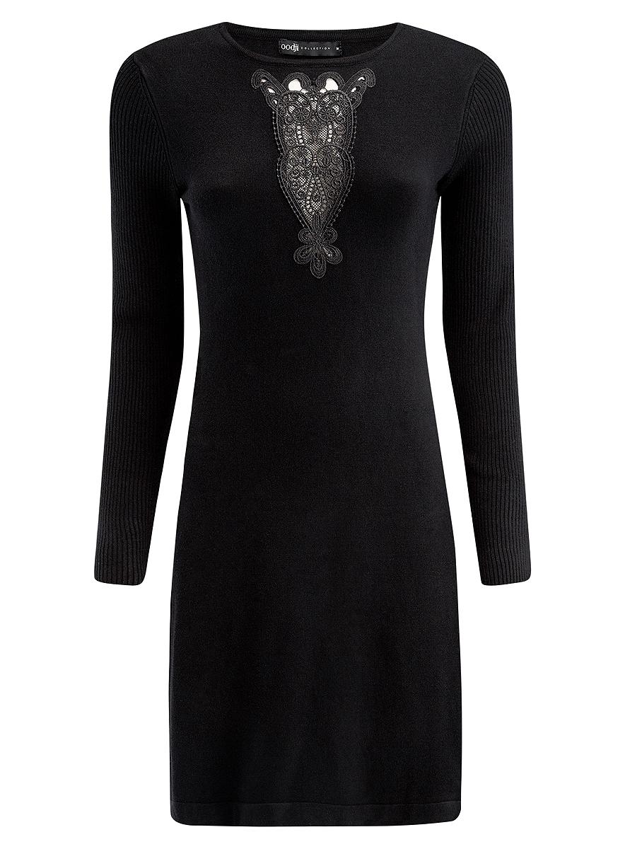 73912220/33506/2900NСтильное платье oodji Collection, выполненное из вискозы с добавлением полиамида, отлично дополнит ваш гардероб. Модель-миди приталенного силуэта имеет круглый вырез горловины и длинные рукава, связанные резинкой. Грудь декорирована ажурной вставкой.