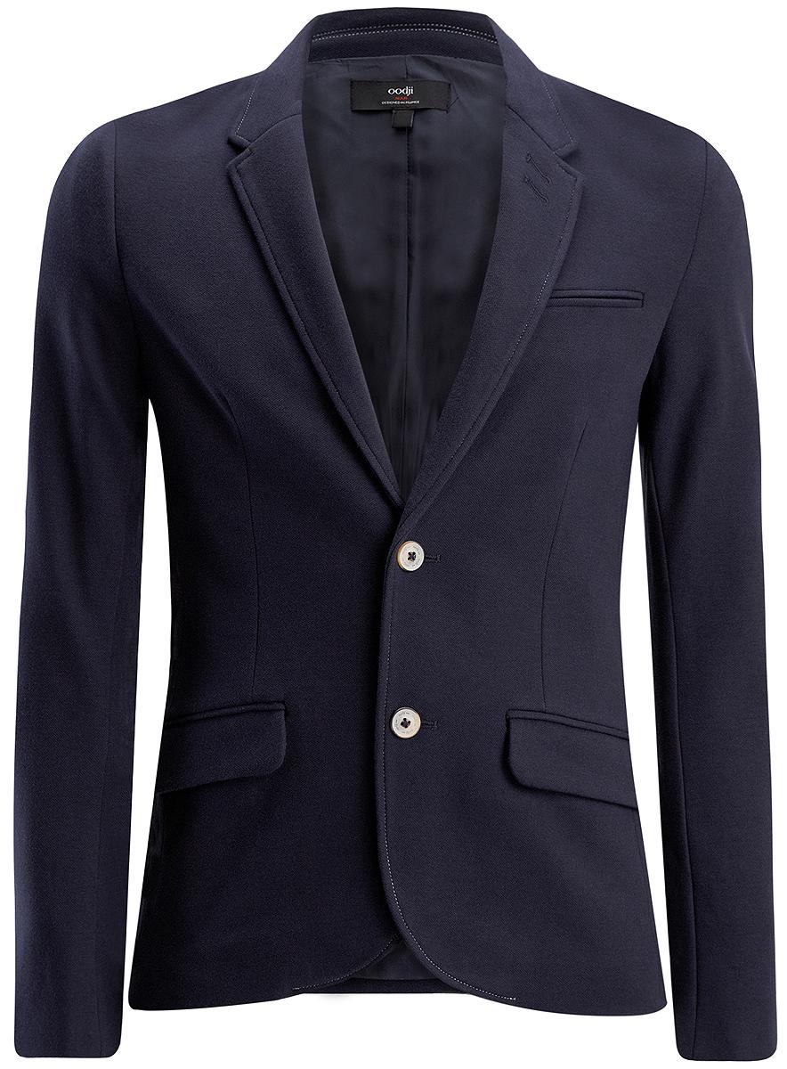 Пиджак5L912031M/44077N/7900NСтильный мужской пиджак oodji выполнен из полиэстера и вискозы на гладкой подкладке. Пиджак имеет воротник с лацканами и застегивается пуговицы. Спереди модель оформлена имитацией карманов. Манжеты рукавов дополнены декоративными пуговицами.