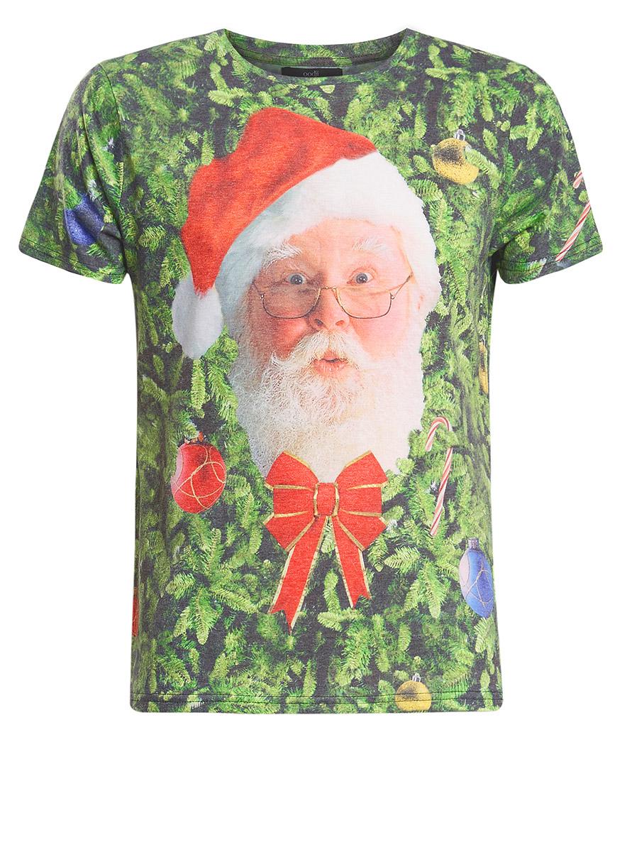 Футболка5L611321M/39949N/1069PОригинальная мужская футболка с изображением Деда Мороза выполнена из полиэстера с хлопком. Модель с круглым вырезом горловины и короткими рукавами.