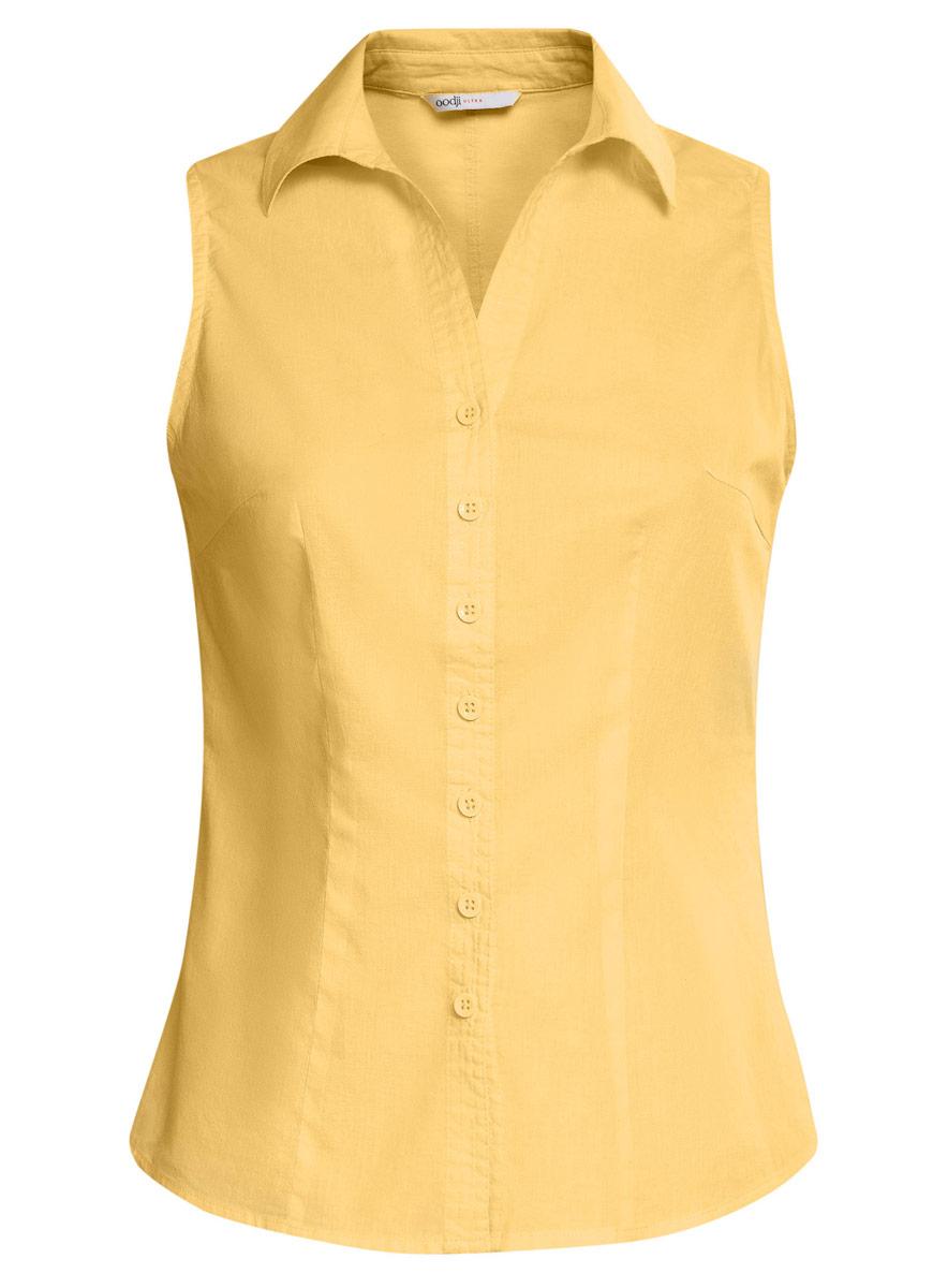 11405063-6/45510/7500NБлузка oodji Ultra выполнена из натурального хлопка. Модель с отложным воротником не имеет рукавов и застегивается по всей длине с помощью пуговиц. Спереди блузка дополнена элегантным V-образным вырезом.