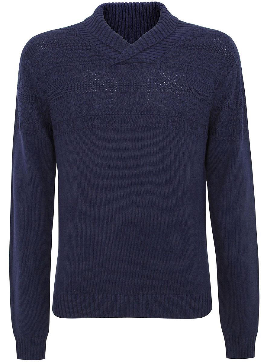 Свитер4L207015M/44023N/7900NСтильный мужской свитер выполнен из качественной пряжи. Модель с воротником-шаль и длинными рукавами. Низ изделия, манжеты рукавов и воротник связаны резинкой.