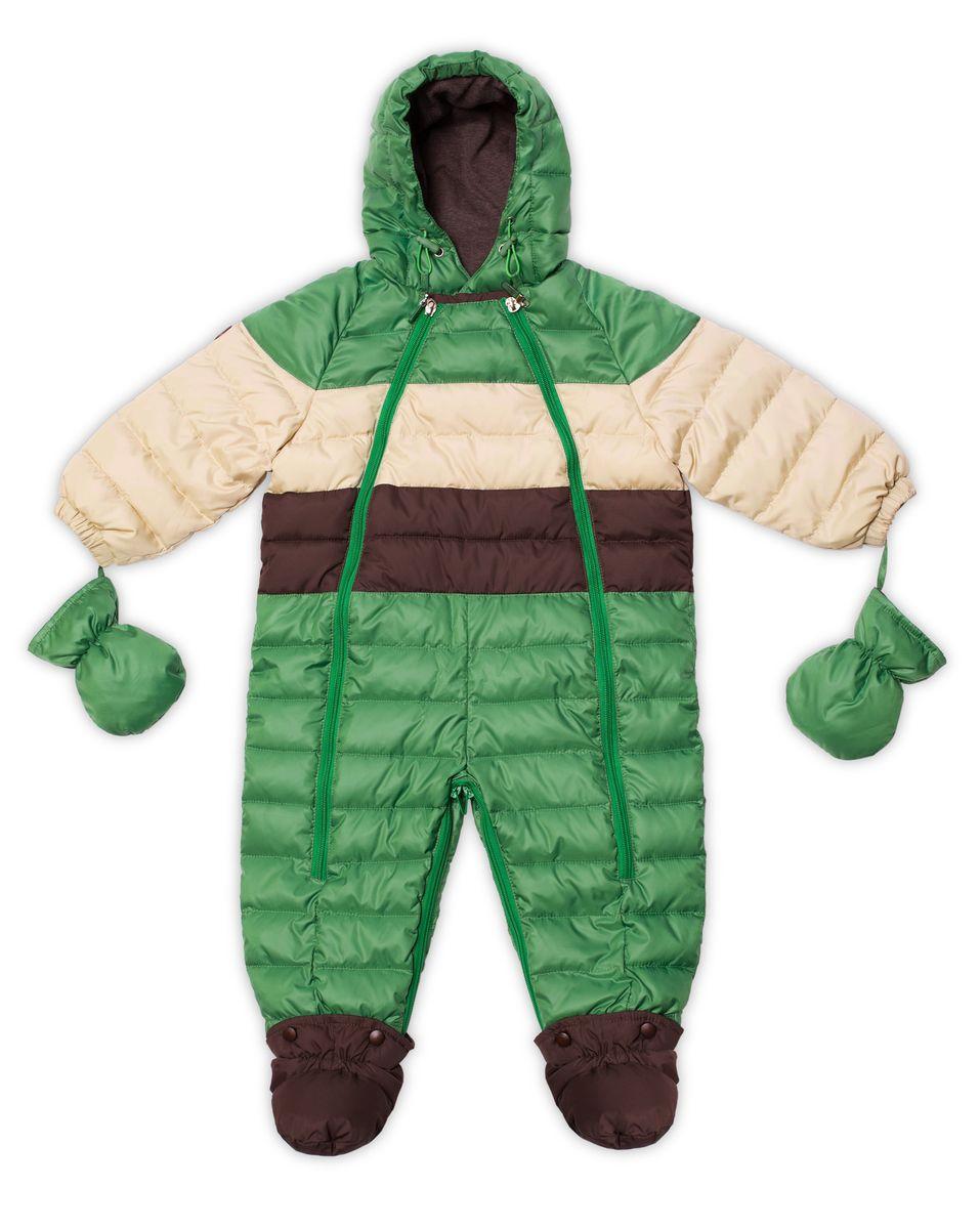 22-103Практичный комбинезон-трансформер Ёмаё выполнен из курточной ткани и утеплен синтепоном. Модель со съемными варежками и пинетками. Несъемный капюшон оснащен вставкой. Спереди предусмотрена двойная застежка-молния для удобства переодевания малыша. Пинетки крепятся на застежки-кнопки. Комбинезон рассчитан на температуру до -15°С. Наполнитель: синтепух, 220 г/м3;