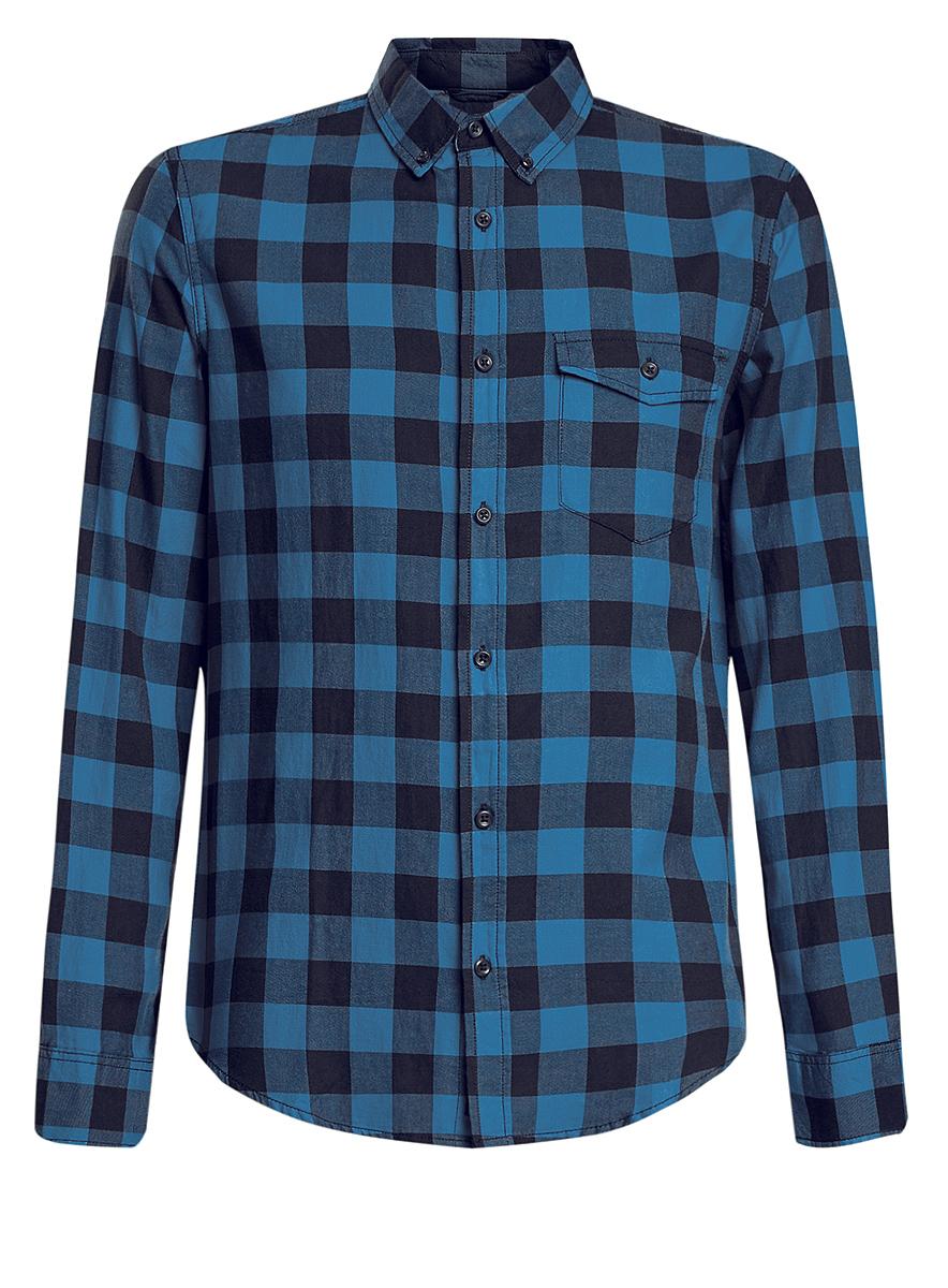 3L310129M/39882N/4579CСтильная мужская рубашка oodji выполнена из натурального хлопка. Модель с отложным воротником и длинными рукавами застегивается на пуговицы спереди. Манжеты рукавов дополнены застежками-пуговицами. Оформлена рубашка стильным принтом в клетку и дополнена нагрудным накладным кармашком с защитной планкой на пуговице.