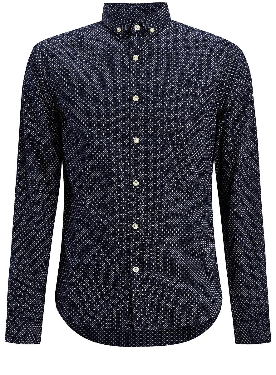 Рубашка3L310127M/44378N/7933GМужская рубашка oodji выполнена из натурального хлопка. Рубашка с длинными рукавами и отложным воротником застегивается на пуговицы спереди. Манжеты рукавов также застегиваются на пуговицы. Рубашка оформлена контрастным принтом в виде ромбов. На груди расположен накладной карман.