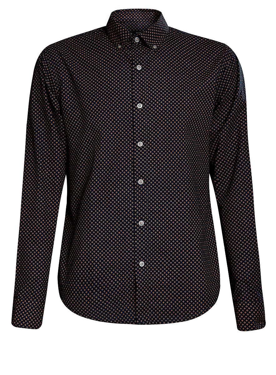 3L310088M/39749N/7935GСтильная мужская рубашка oodji выполнена из высококачественного хлопка. Модель с отложным воротником и длинными рукавами застегивается на пуговицы спереди. Манжеты рукавов дополнены застежками-пуговицами. Оформлена рубашка принтом с мелким узором.