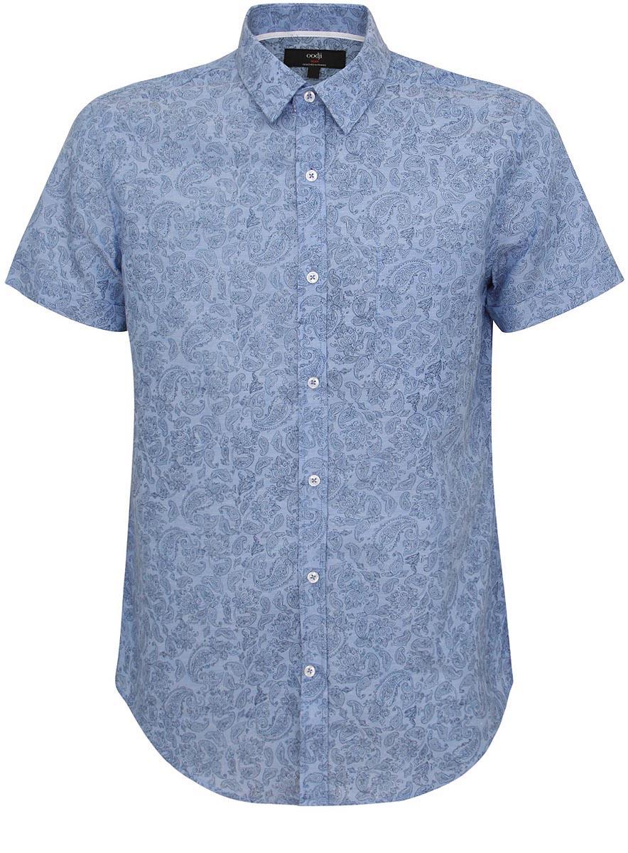 Рубашка3L210022M/39675N/7023EМужская рубашка oodji выполнена из хлопка с добавлением льна. Рубашка кроя slim с короткими рукавами и отложным воротником застегивается на пуговицы спереди. Манжеты рукавов также застегиваются на пуговицы. Рубашка оформлена принтом с оригинальным восточным орнаментом. На груди расположен накладной карман.