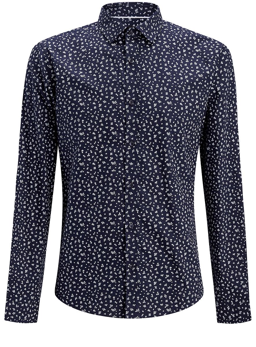 Рубашка3L110205M/19370N/7910FСтильная мужская рубашка oodji выполнена из натурального хлопка. Модель с отложным воротником и длинными рукавами застегивается на пуговицы спереди. Манжеты рукавов дополнены застежками-пуговицами. Оформлена рубашка мелким цветочным принтом.