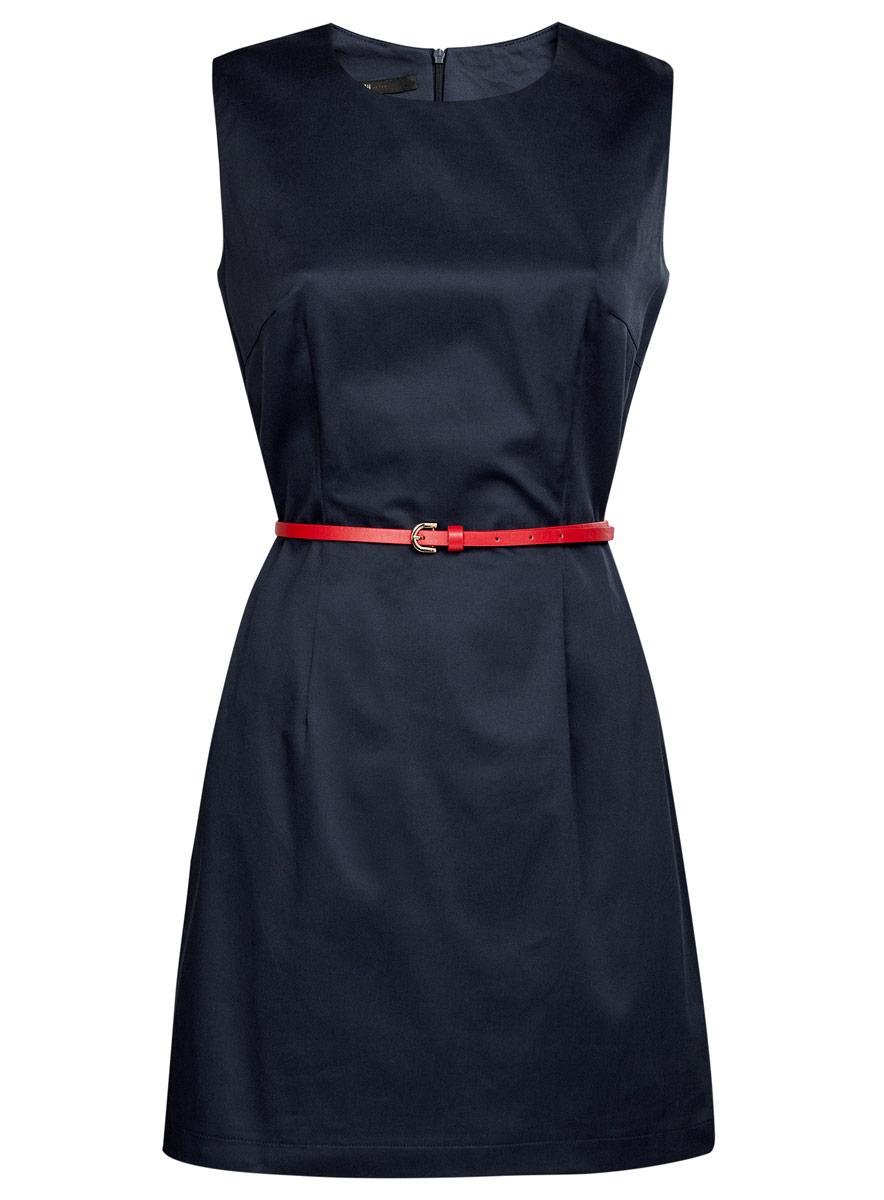 Платье11900128-1/42542/7500NСтильное платье oodji Ultra, выполненное из эластичного хлопка, отлично дополнит ваш гардероб. Модель-миди с круглым вырезом горловины и без рукавов застегивается сзади по спинке на застежку-молнию. Выполнено платье в лаконичном стиле. В комплект входит ремешок из искусственной кожи.