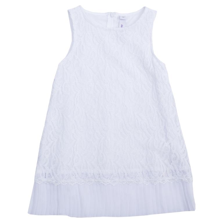 Платье462003Платье без рукавов. Верх из нежного гипюра, мягкая хлопковая подкладка обеспечивает удобство. По низу плиссированная отделка. Застегивается на потайную молнию сзади.