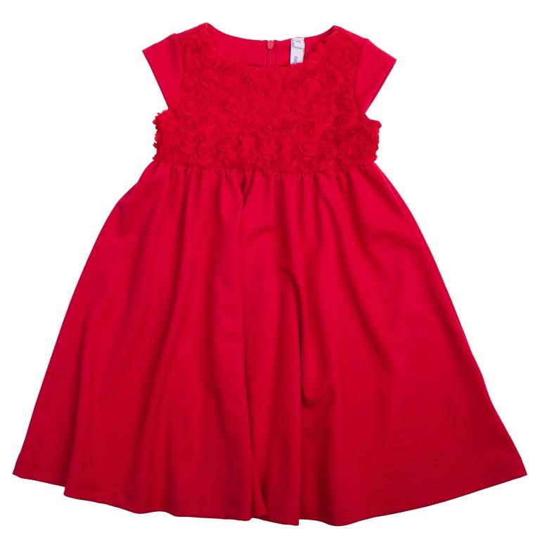 Платье462001Платье с короткими рукавами. Выполнено из легкой вискозы – в нем не будет жарко на празднике. Верх украшен фактурным цветочным узором. Застегивается на молнию на спине.