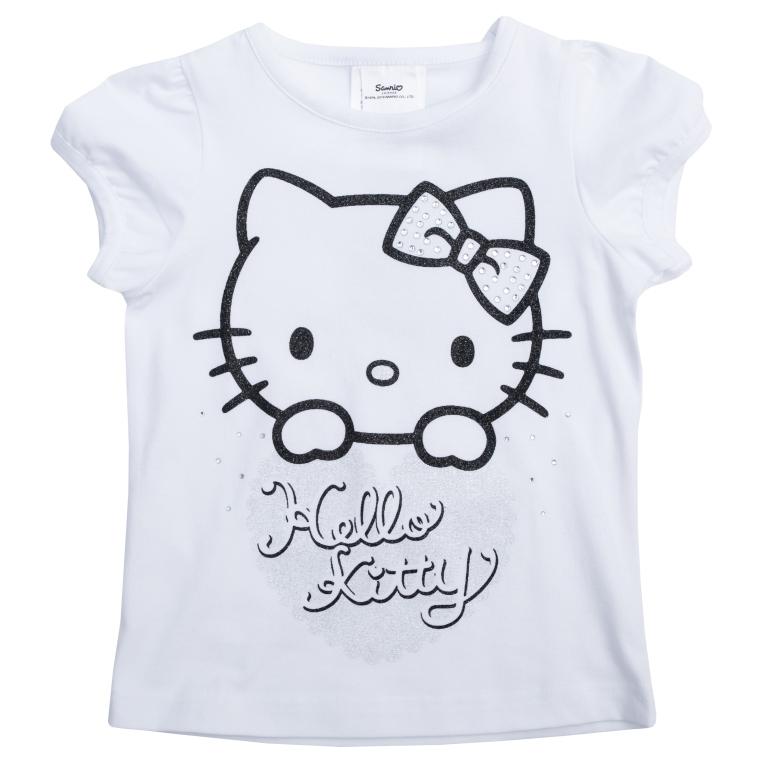 462028Стильная футболка для девочки выполнена из органического хлопка и дополнена нарядным декором: лицензионным принтом Hello Kitty, блестящим глиттером и серебристыми стразами. Воротник и края рукавов-фонариков дополнены мягкой эластичной бейкой. Универсальный цвет позволяет сочетать модель с любой одеждой.
