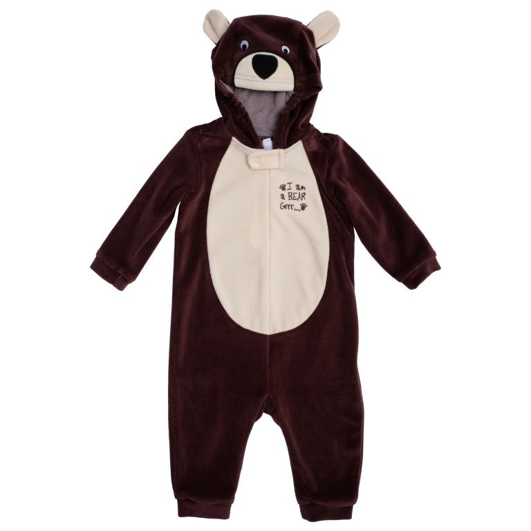 467006Удобный комбинезон для мальчика, выполненный из велюра, - это полноценный наряд медвежонка, не уступающий обычным комбинезонам по функциональности. Комбинезон с длинными рукавами и открытыми ножками застегивается на молнию и кнопку спереди, что помогает легко переодеть ребенка или сменить подгузник. Манжеты рукавов и низ брючин выполнены из эластичной трикотажной резинки. Капюшон оформлен аппликацией в виде мордочки медведя и декоративными ушками. Для надежной фиксации на голове в капюшоне предусмотрены вставки на резиночках.