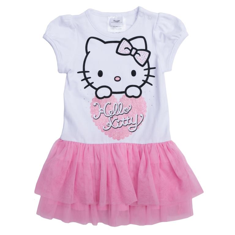 Платье468007Хлопковое платье с пышной юбкой. Удобная конструкция дополнена нарядным декором: лицензионным принтом «Hello Kitty», блестящим глиттером и серебристыми стразами. Застегивается на кнопки на плече, чтобы его удобно было надевать. Рукава-фонарики на мягкой резинке.
