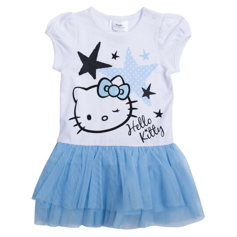 Платье468008Хлопковое платье с пышной юбкой. Удобная конструкция дополнена нарядным декором: лицензионным принтом «Hello Kitty», блестящим глиттером и серебристыми стразами. Застегивается на кнопки на плече, чтобы его удобно было надевать. Рукава-фонарики на мягкой резинке.