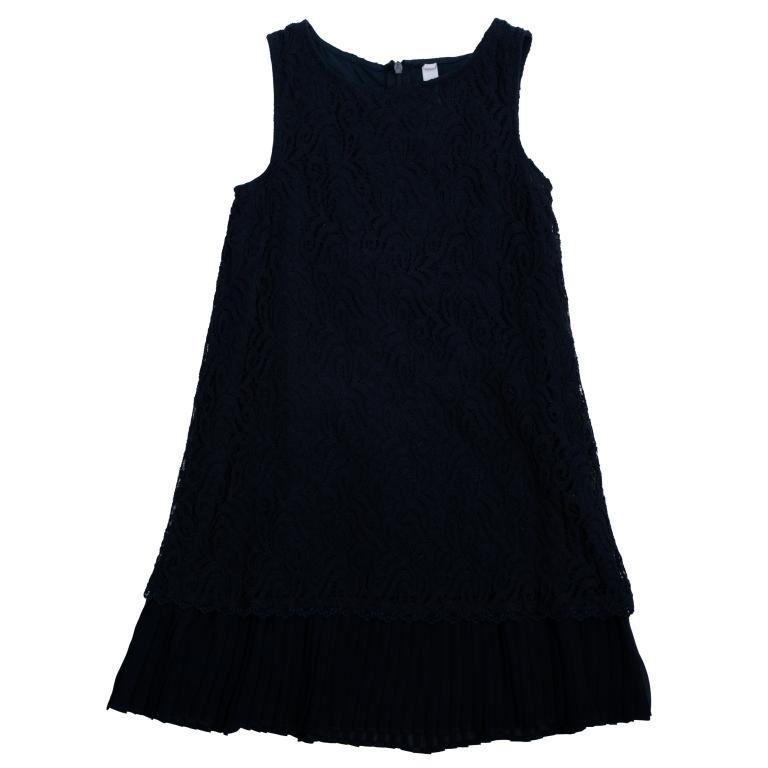 Платье462022Платье без рукавов. Верх из нежного гипюра, мягкая хлопковая подкладка обеспечивает удобство. По низу плиссированная отделка. Застегивается на потайную молнию сзади.