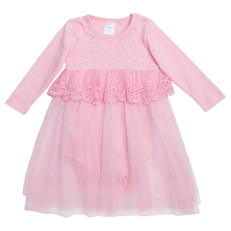 Платье468001Платье-боди с длинными рукавами. Модель из комбинированного материала: верх из мягкого хлопка дополнен легкой сетчатой юбкой. Платье нарядное и функциональное одновременно. Боди застегивается на плече и внизу, чтобы его легко было надевать. Модель украшена нежным кружевом и россыпью жемчужных страз.
