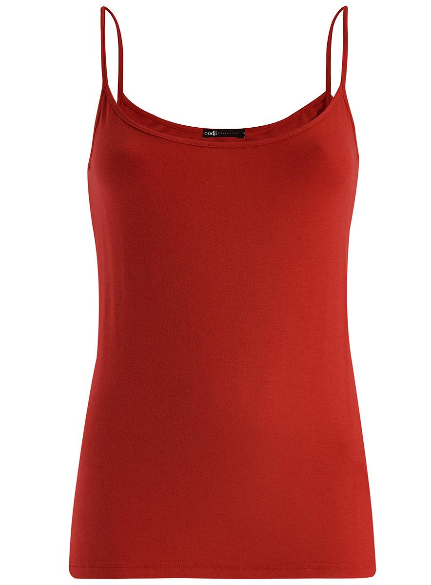 Майка24306001/46223/1000NБазовая женская майка oodji Collection выполнена из эластичной вискозной ткани. Модель с круглым вырезом горловины и тонкими бретельками.