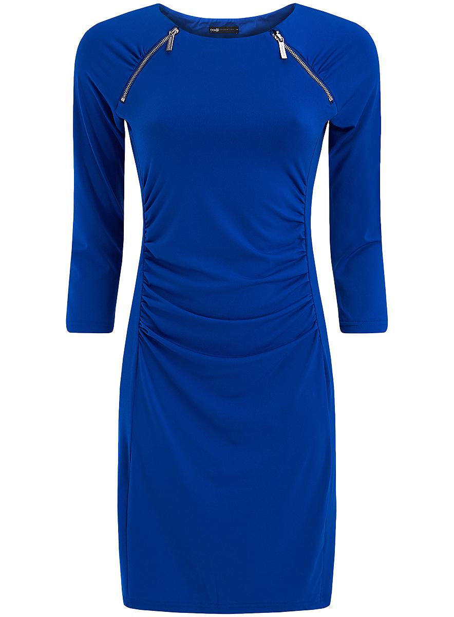 Платье24007024/43121/2900NПлатье oodji, выполненное из полиэстера и полиуретана, оформлено сборками на талии. Модель с круглым вырезом горловины и рукавом 3/4 дополнена декоративными молниями.