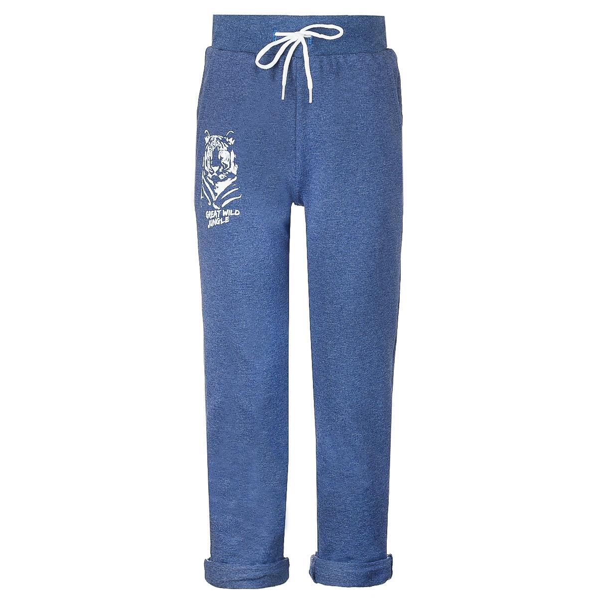 Брюки спортивныеWJJ16009M-11Стильные спортивные брюки M&D для мальчика станут отличным дополнением к гардеробу вашего ребенка. Изготовленные из хлопка с небольшим дополнением лайкры, они мягкие и приятные на ощупь. Брюки на талии имеют широкую эластичную резинку со шнурком. По бокам расположены два втачных кармана. Нижняя часть штанин дополнена стильными отворотами. Оформлена модель принтом с изображением тигра.