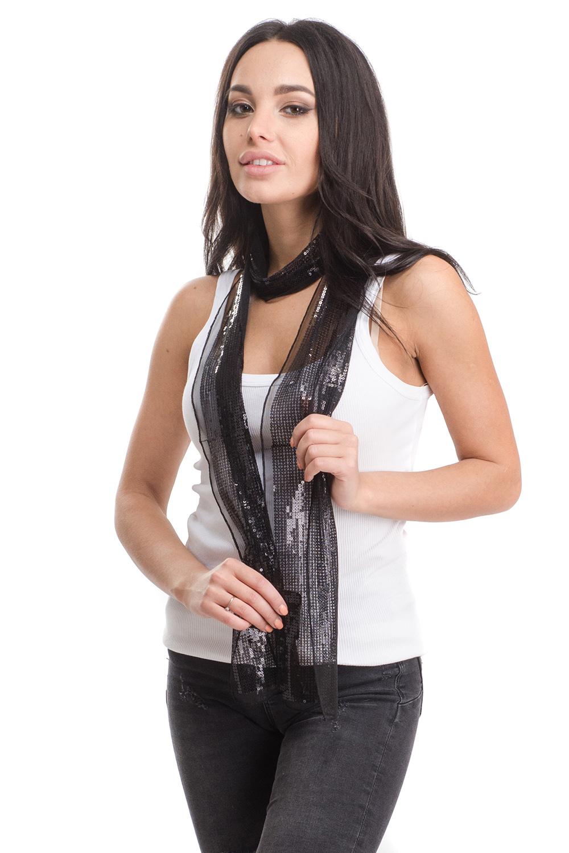 Шарф4A-1630Женский шарф Moltini изготовлен из нейлона с добавлением пластика. Тонкий легкий шарф из сетчатой ткани украшен пайетками.
