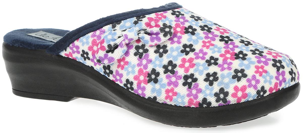 SIMPYDI68Женские ароматизированные тапки De Fonseca на нескользящей резиновой подошве. Модель полностью выполнена из натурального дышащего материала и оформлена текстильным бантиком.