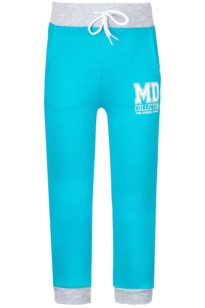 WJJ26036M-28Спортивные брюки для девочки M&D изготовлены из эластичного хлопка. Брюки на поясе имеют широкую резинку и утягивающий шнурок. Низ брючин дополнен трикотажными манжетами. Спереди предусмотрены два втачных кармана.