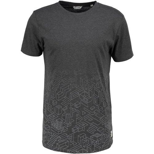 22004132_Dark Grey MelangeМужская футболка Only & Sons с короткими рукавами и круглым вырезом горловины выполнена из натурального хлопка. Футболка украшена оригинальным геометрическим принтом по низу.