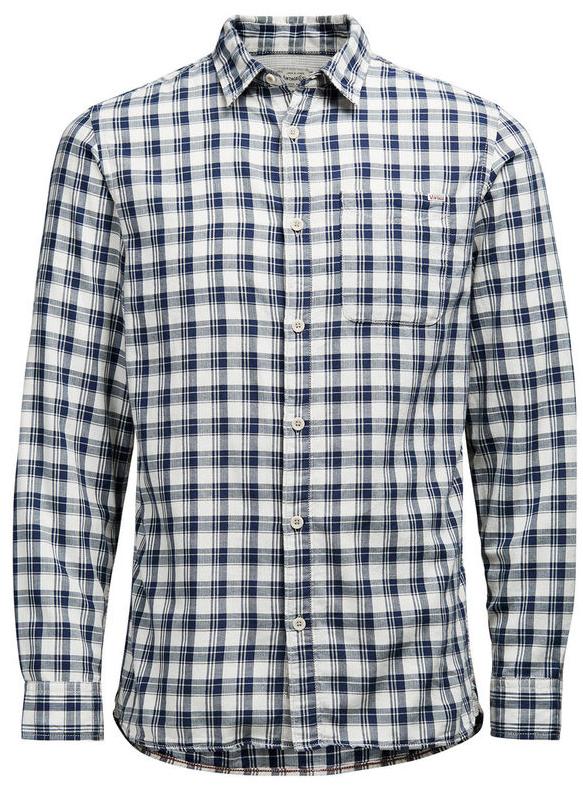 12107981_Cloud DancerМужская рубашка Jack & Jones выполнена из натурального хлопка. Рубашка с длинными рукавами и отложным воротником застегивается на пуговицы спереди. Манжеты рукавов также застегиваются на пуговицы. Рубашка оформлена принтом в клетку. На груди расположен накладной карман.