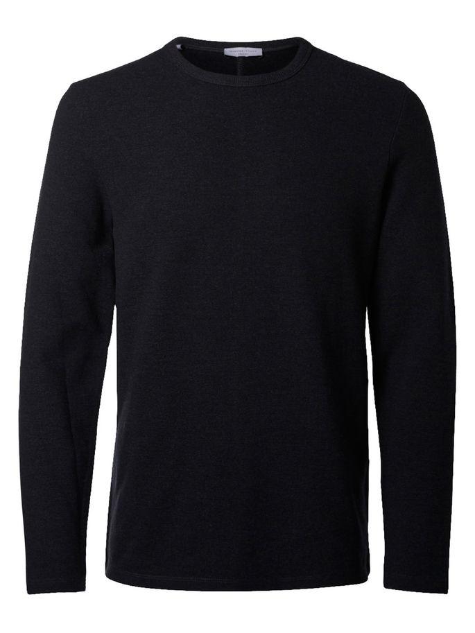 16051696_AntracitМужской пуловер Selected Homme изготовлен из хлопка с добавлением полиэстера и эластана. Модель с длинными рукавами имеет круглый вырез горловины. Благодаря однотонной расцветке, пуловер прекрасно сочетается с любыми нарядами.