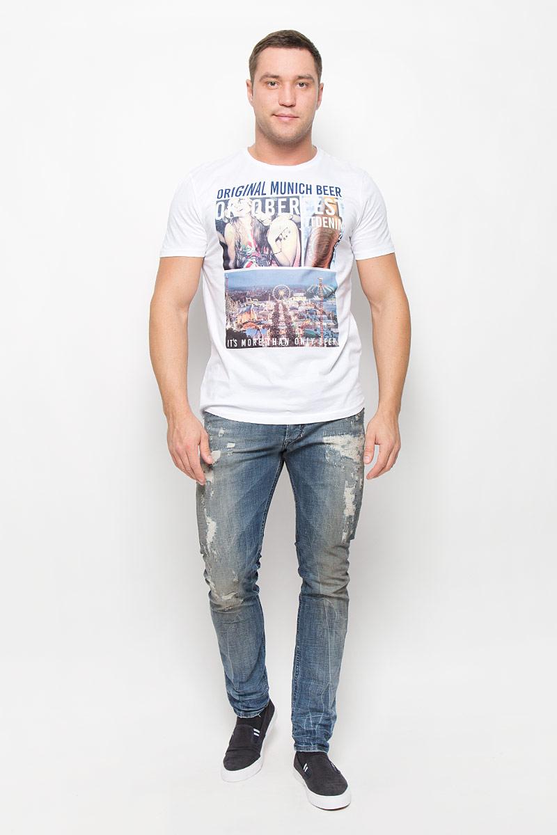 1035860.00.12_2000Мужская футболка Tom Tailor Denim, изготовленная из натурального хлопка, очень мягкая, тактильно приятная, не сковывает движения и позволяет коже дышать. Футболка с круглым вырезом горловины и короткими рукавами оформлена спереди крупным принтом.