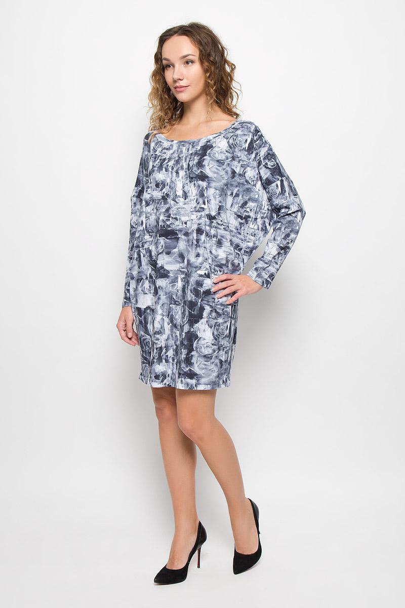Платье00STUD-0IAMA/100Стильное платье модной расцветки выполнено из высококачественного хлопка. Платье с круглым вырезом горловины и длинными рукавами. Верх модели свободный, горловина дополнена трикотажной резинкой.