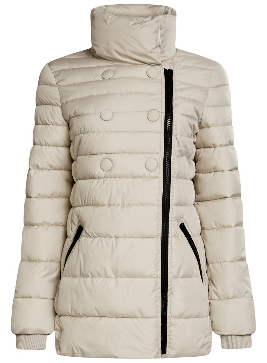 Куртка10201032-2/32754/4900NЖенская куртка oodji Ultra выполнена из 100% полиэстера. В качестве подкладки и утеплителя также используется полиэстер. Модель с воротником-стойкой застегивается на асимметричную застежку-молнию и дополнительно на кнопки. Низ рукавов дополнен внутренними эластичными манжетами. Спереди расположено два прорезных кармана на застежках-молниях.