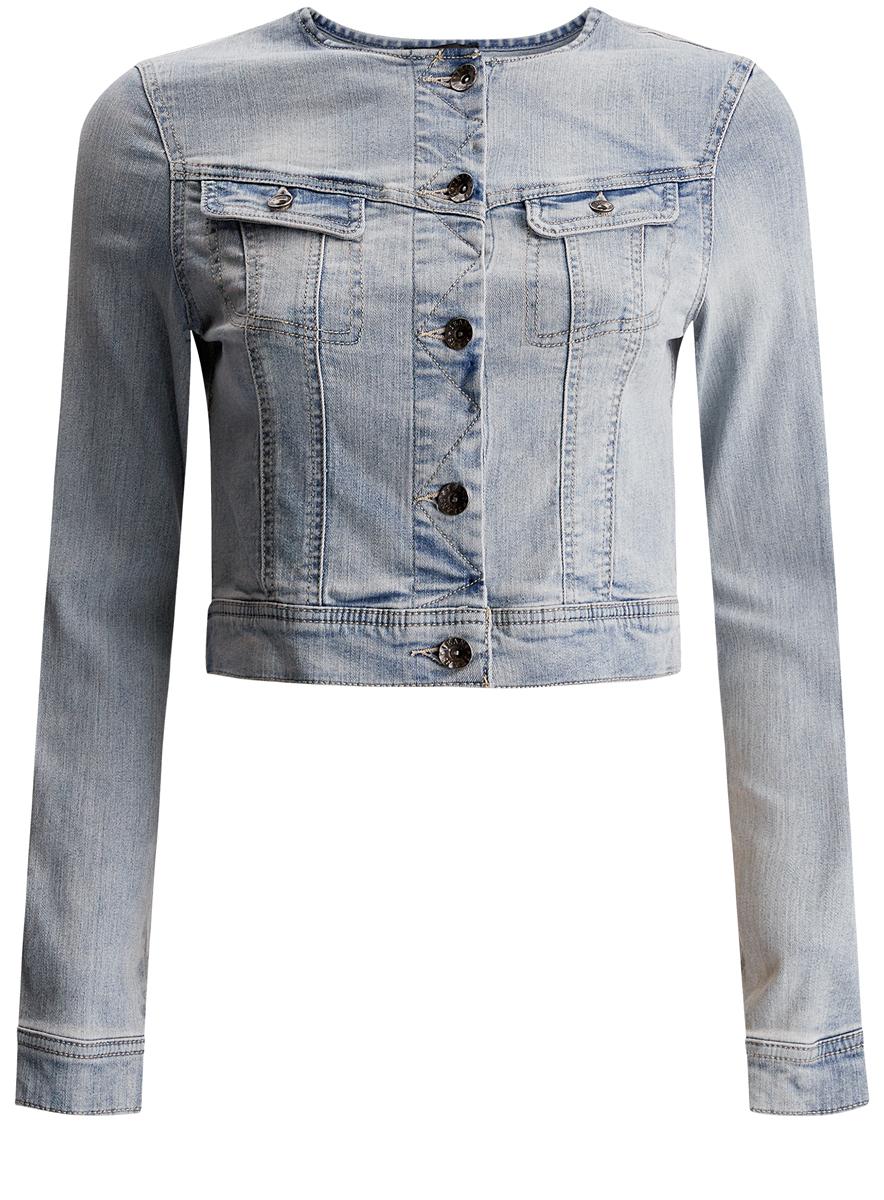 11109003/35613/7000WЖенская джинсовая куртка oodji Denim изготовлена из эластичного хлопка. Модель с круглым вырезом горловины и длинными рукавами застегивается на пуговицы по всей длине. Спереди расположены два нагрудных прорезных кармана с клапанами на пуговицах. Манжеты рукавов оснащены пуговицами.